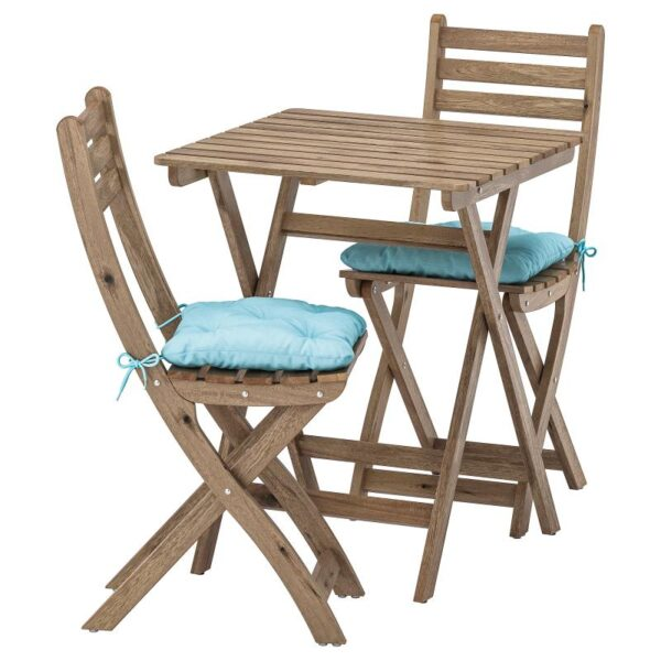 АСКХОЛЬМЕН Стол+2стула,д/сада, серо-коричневая морилка/Куддарна синий голубой - Артикул: 992.861.45