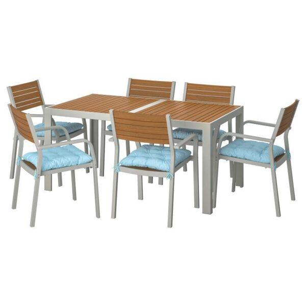 ШЭЛЛАНД Стол+6 кресел,д/сада, светло-коричневый/Куддарна синий 156x90 см - Артикул: 992.916.32