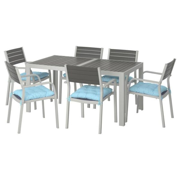 ШЭЛЛАНД Стол+6 кресел,д/сада, темно-серый/Куддарна синий 156x90 см - Артикул: 092.916.41