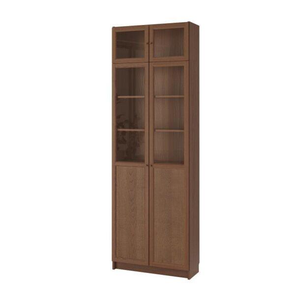 БИЛЛИ Стеллаж с верхними полками/дверьми коричневый ясеневый шпон 80x237x30 см - Артикул: 192.873.42