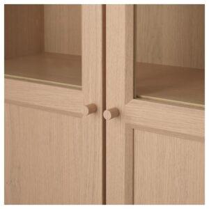 БИЛЛИ / ОКСБЕРГ Стеллаж/панельные/стеклянные двери дубовый шпон, беленый/стекло 160x202x30 см - Артикул: 592.807.44