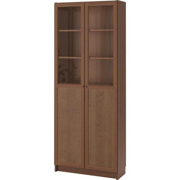 БИЛЛИ Стеллаж/панельные/стеклянные двери коричневый/ясеневый шпон 80x202x30 см - Артикул: 792.817.71