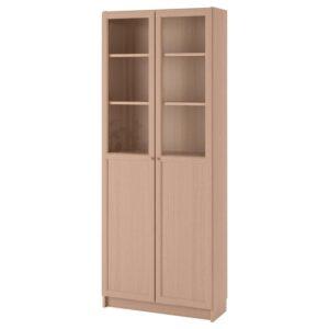 БИЛЛИ Стеллаж панельные/стеклянные двери дубовый шпон беленый 80x202x30 см - 892.817.75