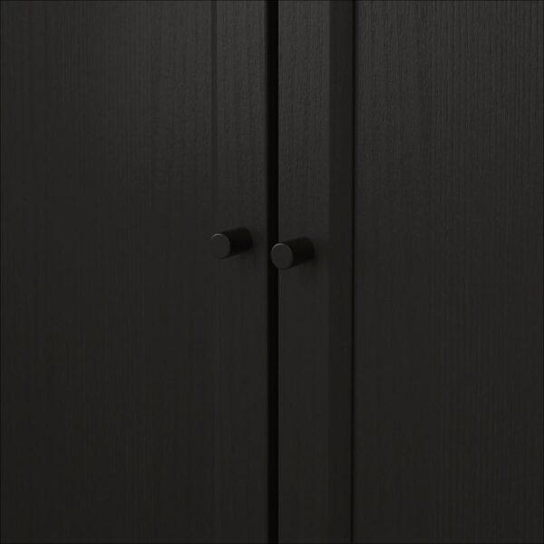 БИЛЛИ / ОКСБЕРГ Стеллаж/панельные/стеклянные двери черно-коричневый 160x202x30 см - Артикул: 392.807.21