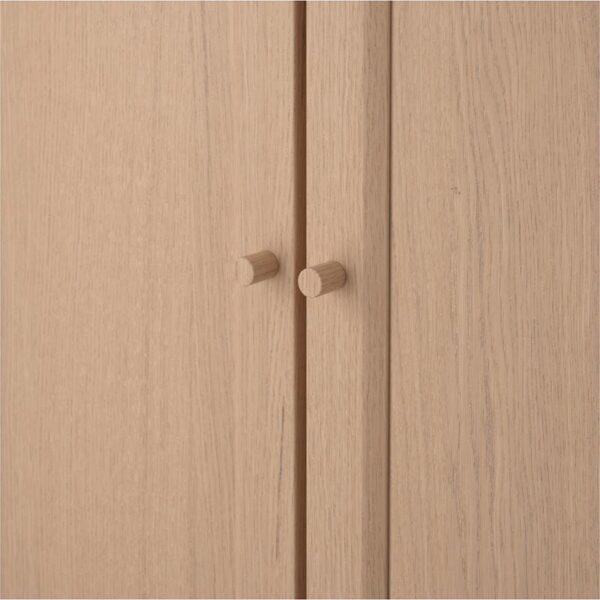 БИЛЛИ / ОКСБЕРГ Стеллаж с верхними полками/дверями дубовый шпон, беленый 160x237x30 см - Артикул: 392.807.59