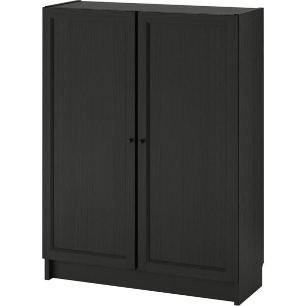 БИЛЛИ / ОКСБЕРГ Стеллаж с дверьми черно-коричневый 80x106x30 см - Артикул: 492.810.46