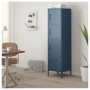 ИДОСЕН Высокий шкаф с ящиком и дверцами синий 45x172 см - Артикул: 903.609.79