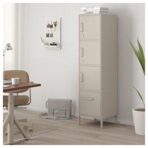ИДОСЕН Высокий шкаф с ящиком и дверцами бежевый 45x172 см - Артикул: 503.609.62