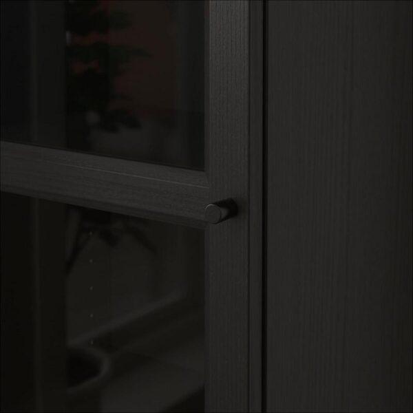 БИЛЛИ / ОКСБЕРГ Шкаф книжный со стеклянной дверью черно-коричневый/стекло 40x202x30 см - Артикул: 192.874.03