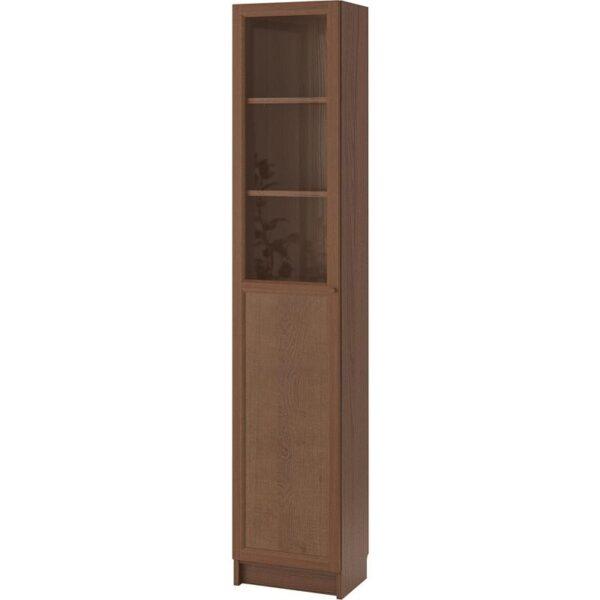 БИЛЛИ / ОКСБЕРГ Стеллаж/панельная/стеклянная дверь коричневый ясеневый шпон/стекло 40x202x30 см - Артикул: 592.874.15