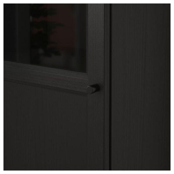 БИЛЛИ / ОКСБЕРГ Стеллаж с верхними полками/дверьми черно-коричневый/стекло 40x237x30 см - Артикул: 792.874.24