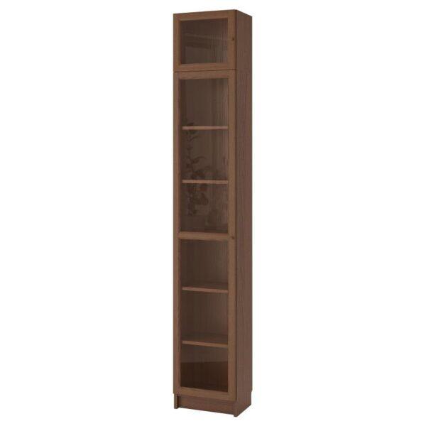 БИЛЛИ / ОКСБЕРГ Шкаф книжный со стеклянной дверью коричневый ясеневый шпон/стекло 40x237x30 см - Артикул: 592.874.39