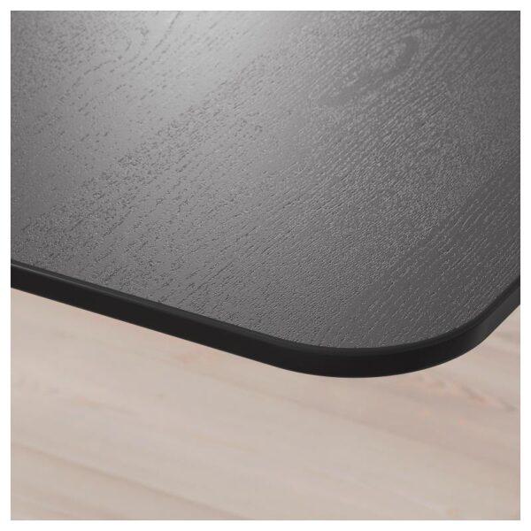 БЕКАНТ Углов письм стол лев/трансф ясеневый шпон/черная морилка/черный 160x110 см - Артикул: 692.822.57