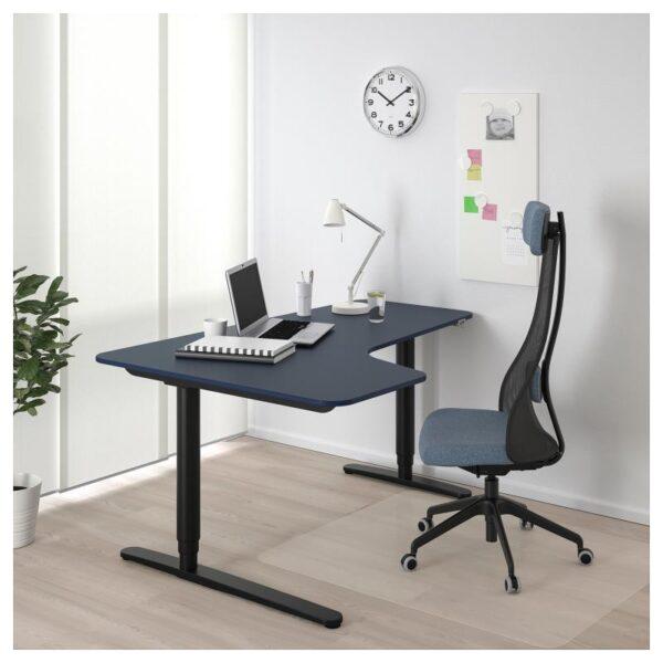 БЕКАНТ Углов письм стол лев/трансф линолеум синий/черный 160x110 см - Артикул: 692.822.81