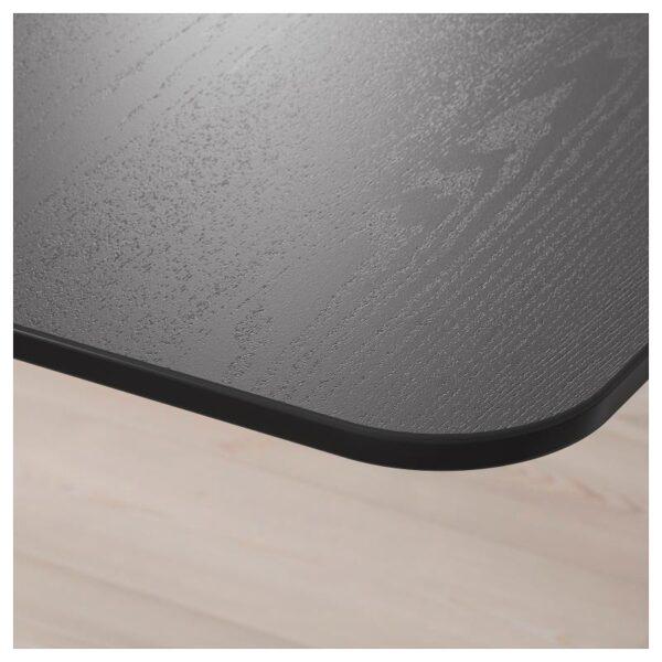 БЕКАНТ Углов письм стол прав/трансф ясеневый шпон/черная морилка черный 160x110 см - Артикул: 592.823.90