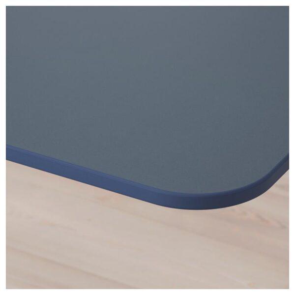 БЕКАНТ Углов письм стол прав/трансф линолеум синий/черный 160x110 см - Артикул: 392.823.67