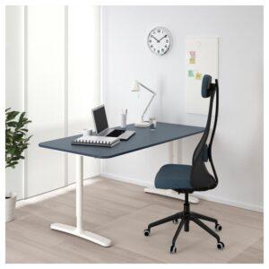 БЕКАНТ Письменный стол линолеум синий/белый 160x80 см - Артикул: 392.827.63