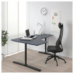 БЕКАНТ Углов письм стол левый линолеум синий/черный 160x110 см - Артикул: 792.828.17