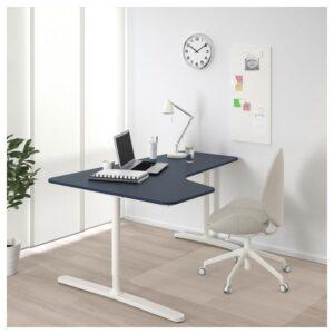 БЕКАНТ Углов письм стол левый линолеум синий/белый 160x110 см - Артикул: 392.828.43