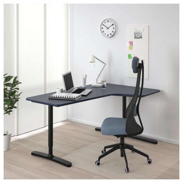 БЕКАНТ Углов письм стол правый линолеум синий/черный 160x110 см - Артикул: 192.828.82