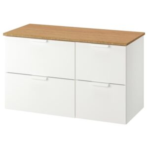 ГОДМОРГОН / ТОЛКЕН Шкаф для раковины с 4 ящ, белый/бамбук 102x49x60 см - Артикул: 792.953.44