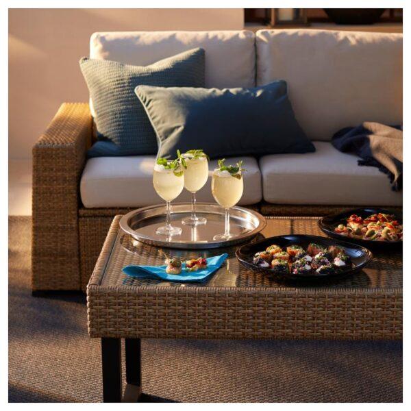 СОЛЛЕРОН 4-местный комплект садовой мебели, коричневый/ФРЁСЁН/ДУВХОЛЬМЕН бежевый - Артикул: 692.568.71