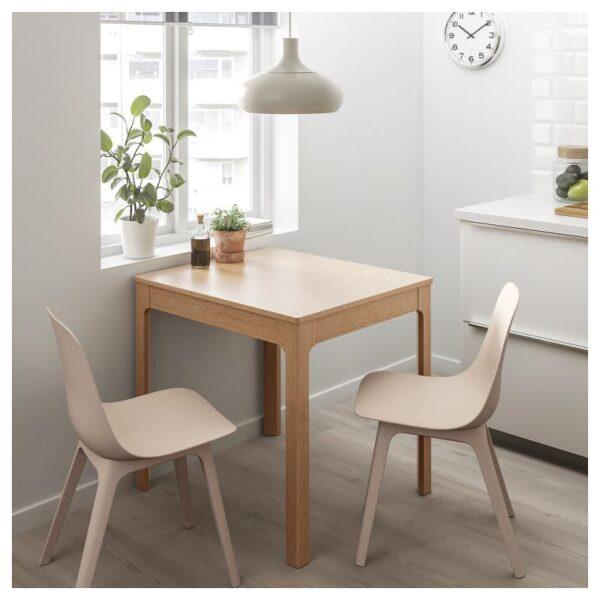 ЭКЕДАЛЕН / ОДГЕР Стол и 2 стула дуб/белый бежевый 80/120 см - Артикул: 092.394.41