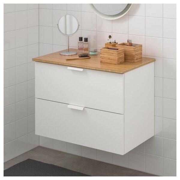 ГОДМОРГОН / ТОЛКЕН Шкаф для раковины с 2 ящ, белый/бамбук 82x49x60 см - Артикул: 692.954.91