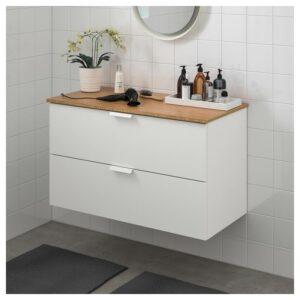 ГОДМОРГОН / ТОЛКЕН Шкаф для раковины с 2 ящ, белый/бамбук 102x49x60 см - Артикул: 592.955.33