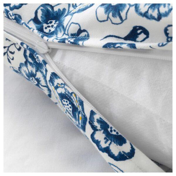 СОНГЛЭРКА Подушка, цветок/синий белый 65x40 см - Артикул: 204.269.93
