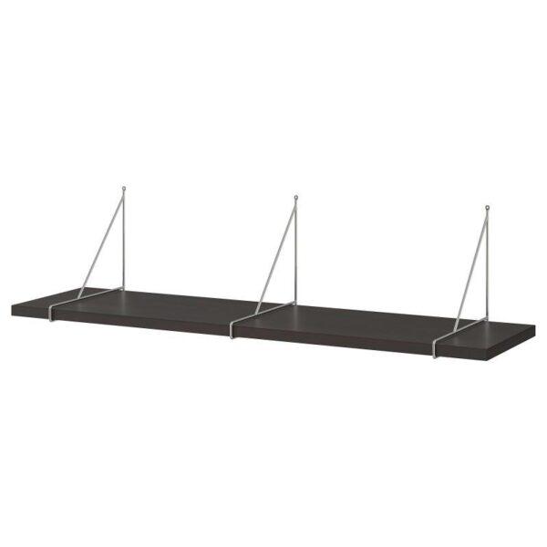 БЕРГСХУЛЬТ / ПЕРСГУЛЬТ Полка навесная, коричнево-чёрный/хромированный 120x30 см - Артикул: 192.907.64