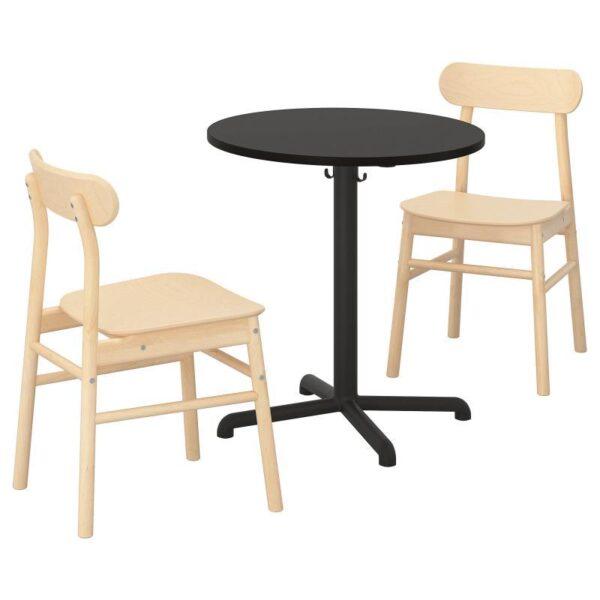 СТЕНСЕЛЕ / РЁННИНГЕ Стол и 2 стула, антрацит/антрацит береза 70 см - Артикул: 492.971.27