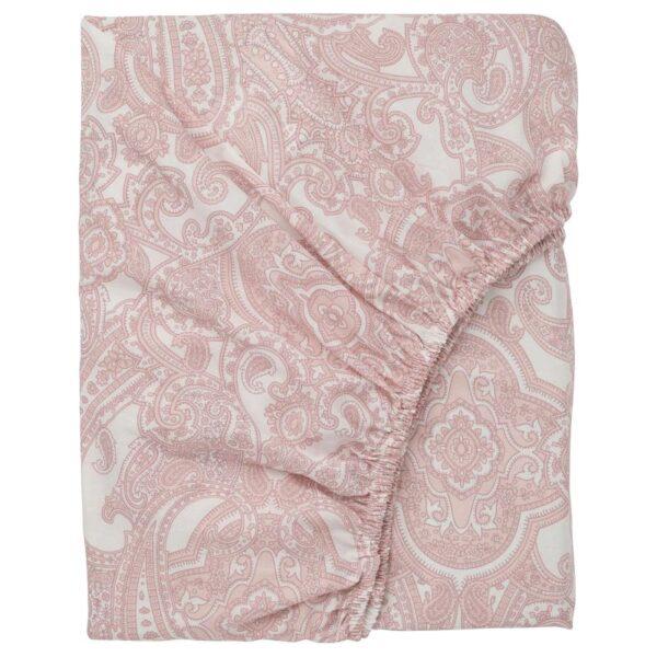 ЙЭТТЕВАЛЛМО Простыня натяжная, белый/розовый 180x200 см - Артикул: 304.365.95