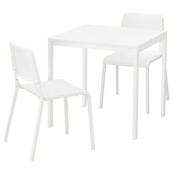 МЕЛЬТОРП / ТЕОДОРЕС Стол и 2 стула белый/белый 75x75 см - Артикул: 992.969.03