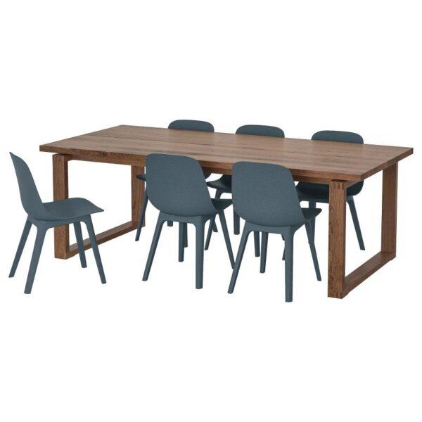 МОРБИЛОНГА / ОДГЕР Стол и 6 стульев дубовый шпон/синий 220x100 см - Артикул: 092.969.07