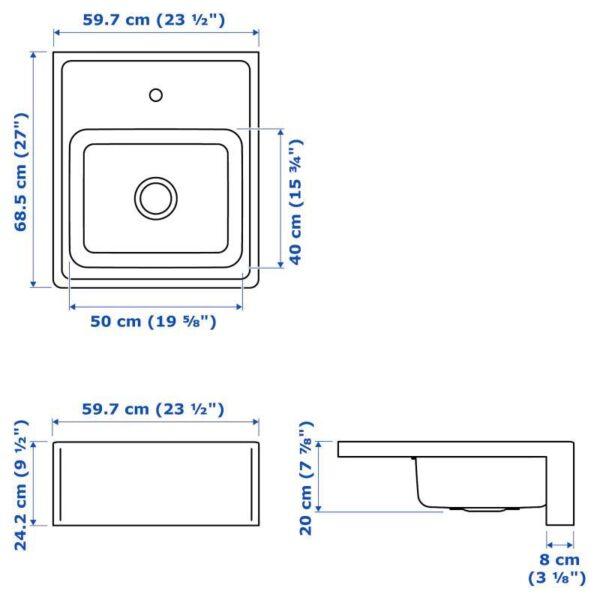 БРЕДШЁН Мойка с видимой фронтальной стенкой, нержавеющ сталь 60x69 см - Артикул: 292.895.62