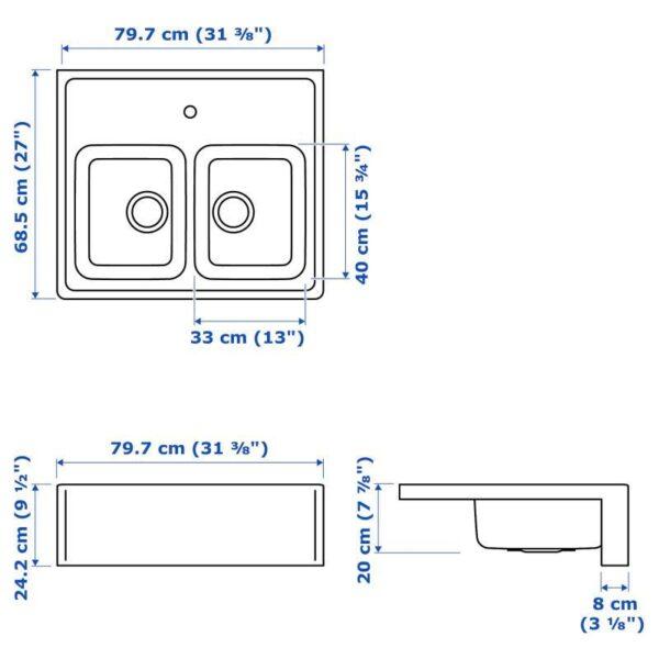 БРЕДШЁН Двойная мойка, видимая фронт стенка, нержавеющ сталь 80x69 см - Артикул: 192.895.67
