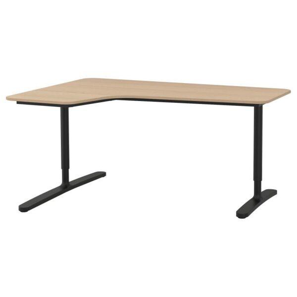 БЕКАНТ Углов письм стол левый дубовый шпон, беленый/черный 160x110 см - Артикул: 092.828.06