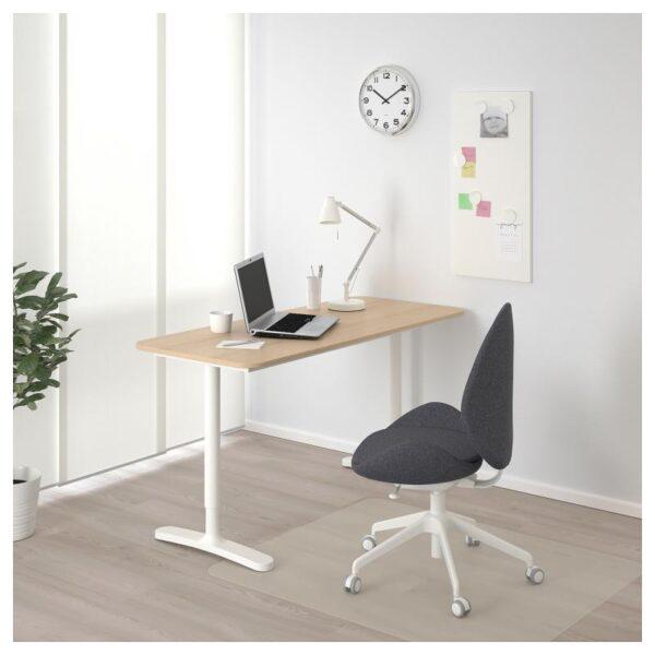 БЕКАНТ Письменный стол дубовый шпон, беленый/белый 140x60 см - Артикул: 292.826.69