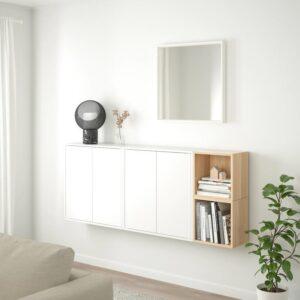 ЭКЕТ Комбинация настенных шкафов, белый/под беленый дуб 175x25x70 см - Артикул: 492.863.84