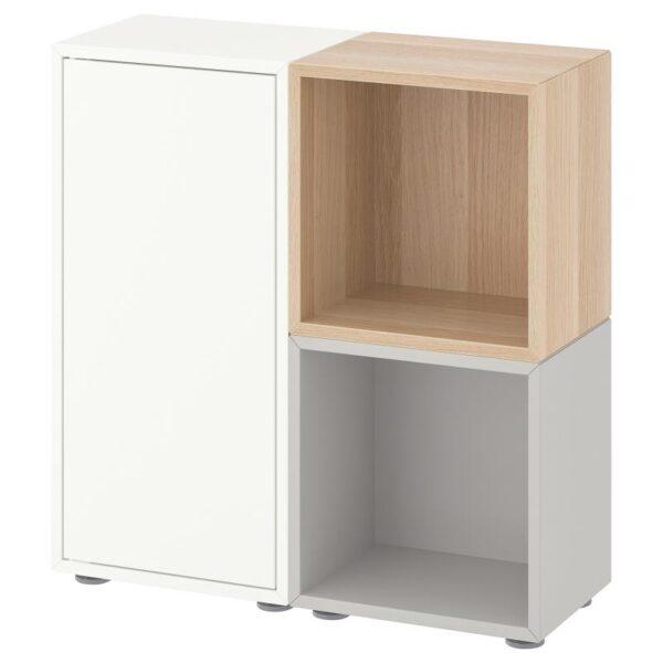 ЭКЕТ Комбинация шкафов с ножками, белый/светло-серый/под беленый дуб 70x25x72 см - Артикул: 192.864.27