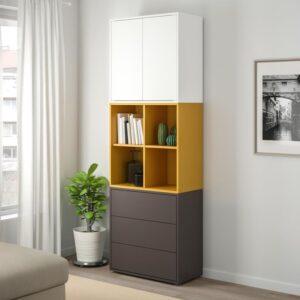 ЭКЕТ Комбинация шкафов с ножками, белый/золотисто-коричневый темно-серый 70x35x212 см - Артикул: 792.865.23