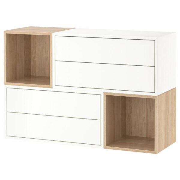 ЭКЕТ Комбинация настенных шкафов, белый/под беленый дуб 105x35x70 см - Артикул: 792.863.87
