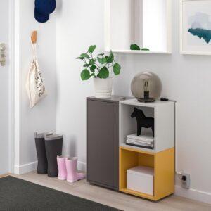 ЭКЕТ Комбинация шкафов с ножками, темно-серый/светло-серый золотисто-коричневый 70x25x72 см - Артикул: 592.864.30