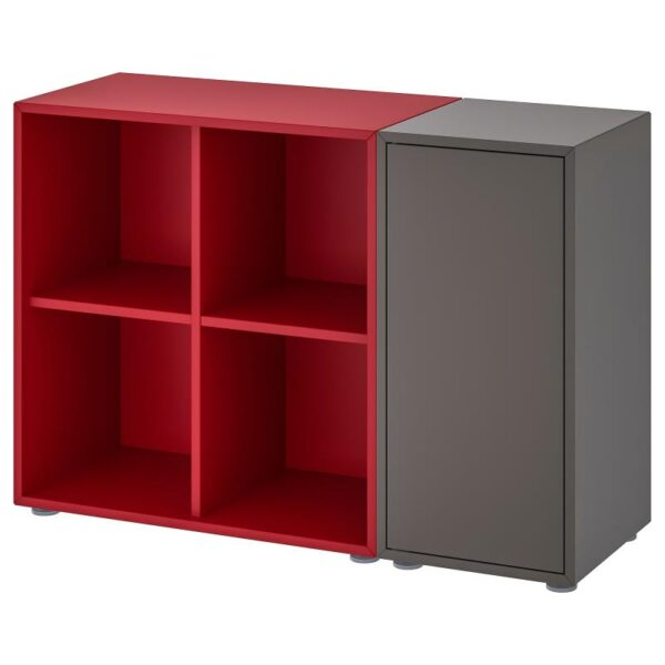 ЭКЕТ Комбинация шкафов с ножками, темно-серый/красный 105x35x72 см - Артикул: 092.864.56