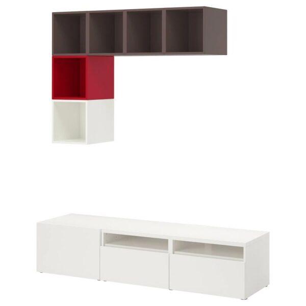 БЕСТО / ЭКЕТ Комбинация для ТВ, белый/темно-серый/красный 180x42x170 см - Артикул: 492.867.51