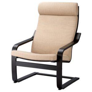 ПОЭНГ Кресло черно-коричневый/Шифтебу бежевый - Артикул: 393.027.99