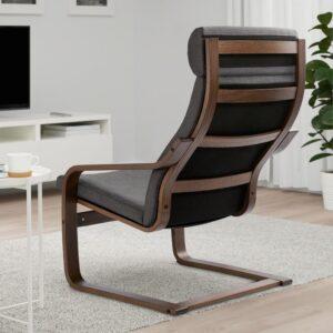 ПОЭНГ Кресло коричневый/Шифтебу темно-серый - Артикул: 493.028.07