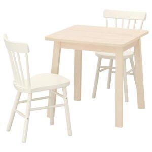 НОРРОКЕР / НОРРАРИД Стол и 2 стула, береза/белый 74x74 см - Артикул: 092.972.71