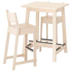 НОРРОКЕР / НОРРОКЕР Барный стол и 2 барных стула, береза береза 74 см - Артикул: 792.972.77
